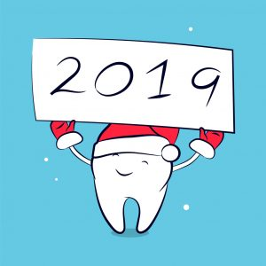 Cute funny cartoon tooth in santa hat and mittens. Vector concept of New Year and Christmas greeting for the dental clinic. Winter holidays in dentistry.
